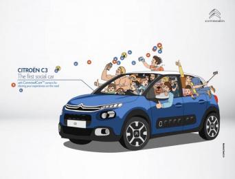 Citroen C3: The First Social Car Print Ad by Bruckner Yaar Levi Tel-Aviv