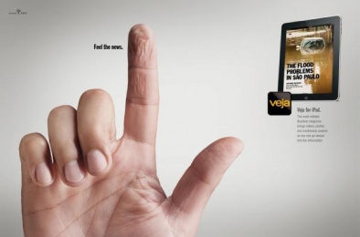 Veja for iPad: Fingers, Water Print Ad by G2