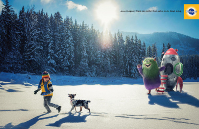 Pedigree: Non-Imaginary Friends - Snow Print Ad by BBDO New York, Lightfarm Studios