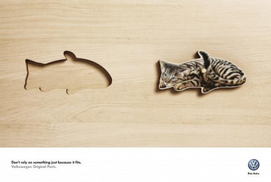 Volkswagen Original Parts: Cat Peixe (eng, spa) Print Ad by ALMAP BBDO Brazil