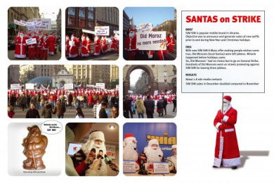 Sim Pre-paid Mobile Services: SANTAS ON STRIKE! Print Ad by Promotion Technologies