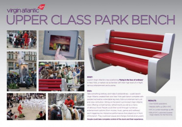 Virgin Atlantic Airlines: UPPER CLASS PARK BENCH Case study by Y&R New York