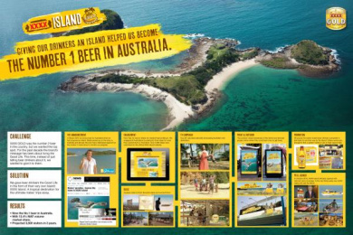 Xxxx Gold Beer: GIVING OUR DRINKERS AN ISLAND HELPED US BECOME THE NUMBER 1 BEER IN AUSTRALIA Promo / PR Ad by BMF Australia, Lion Nathan, Octagon
