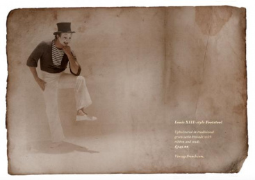 Vintage French: Louis XIII-style Footstool Print Ad by Neil A. Dawson