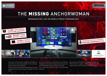 Reporters Without Borders: The Missing Anchorwoman [image] Digital Advert by Serviceplan Munich