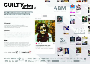 Innocence En Danger: #guiltytags [image] Digital Advert by La PAC, McCann Paris