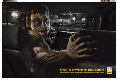 Road Safety: GREEN MONSTER Outdoor Advert by Lowe Strateus Paris