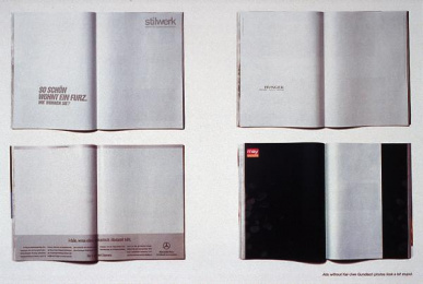 Kai-uwe Gundlach: ADS WITHOUT PHOTOS Print Ad by Kolle Rebbe Hamburg