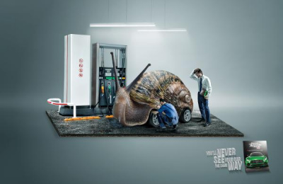 Automovil Panamericano: Snail Print Ad by Team collaboration