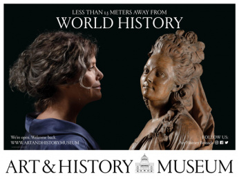 Art & History Museum: Less Than 1.5 Meters Away From World History, 2 Outdoor Advert by Kopstoot, Belgium