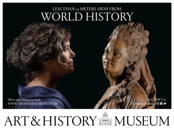 Art & History Museum: Less Than 1.5 Meters Away From World History, 2 Outdoor Advert by Kopstoot, Belgium