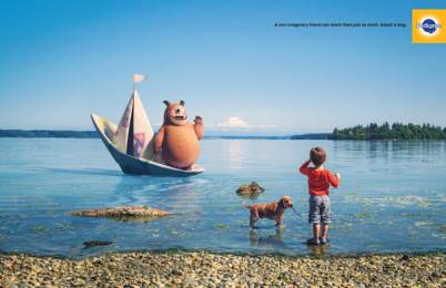Pedigree: Non-Imaginary Friends - Lake Print Ad by BBDO New York, Lightfarm Studios