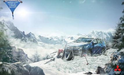 Mitsubishi Montero: Snow Print Ad by Promoplan