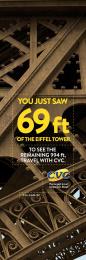 CVC Travel agency: Eiffel Tower Print Ad by Publicis Sao Paulo