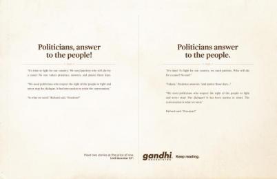 Gandhi Bookstores: Politicians Print Ad by Ogilvy Johannesburg