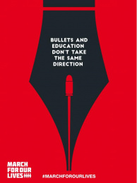 March For Our Lives: Bullets and Education Don't Take the Same Direction Print Ad by Adpro Communications