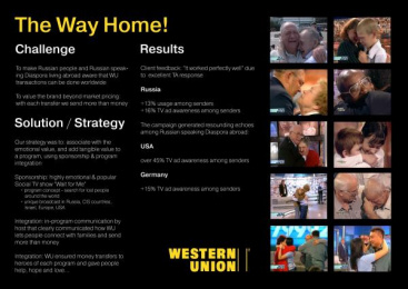Western Union: THE WAY TO HOME! Print Ad by Mediavest Moscow