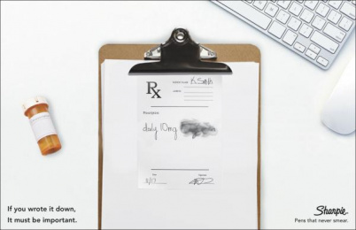 Sharpie: Rx Note Print Ad by S.I. Newhouse School of Public Communications Syracuse New York