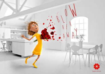 Flowers and more: Blow her away with flowers, 1 Print Ad by New Moment New Ideas Company Skopje