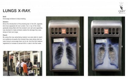 Quit: LUNGS XRAY Ambient Advert by Saatchi & Saatchi London