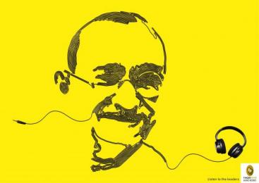 Fingerprint Audio Books: Audio books - Gandhi Print Ad by Adfactors Advertising, Contract Advertising India