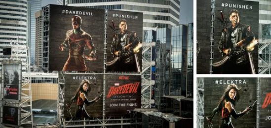Daredevil: Daredevil Fighting Billboards Outdoor Advert by Clear Channel, DDB Vancouver