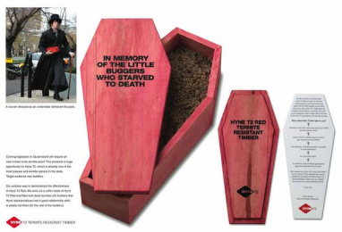 Hyne Timber: Coffin Ambient Advert by Clemenger BBDO Melbourne