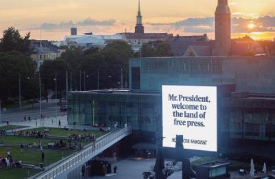 Helsingin Sanomat: Land of Free Press Outdoor Advert