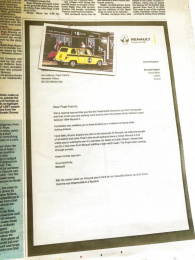 Renault: Letter to the Pope Print Ad by Publicis Dublin