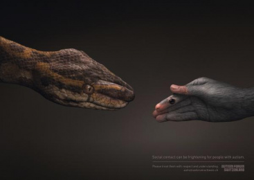 Autism Forum Switzerland: Snake/Mouse Print Ad by Ruf Lanz