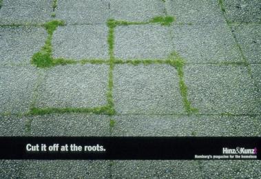 Anti-racist Message From A Homeless Magazine: SWASTIKA Print Ad by Kolle Rebbe Hamburg