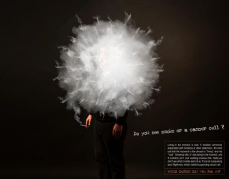 Pencil Wings: Smoke or cancer cell Print Ad by Pencil Wings