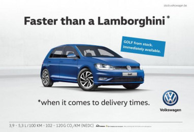 Volkswagen: Faster than a Lamborghini [image] Print Ad by DDB Brussels