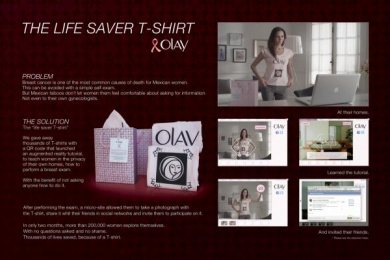 OLAY / BREAST CANCER AWARENESS: THE LIFE SAVER T-SHIRT Print Ad by Saatchi & Saatchi Mexico