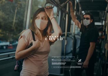 Fundación HONRA: Thanks Covid: Bus Print Ad by Havas Creative, Santiago, Chile