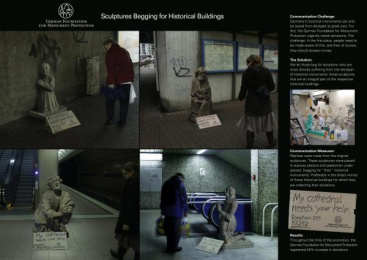 Monument Protection: SCULPTURES BEGGING FOR HISTORICAL BUILDINGS Print Ad by Ogilvy & Mather Frankfurt