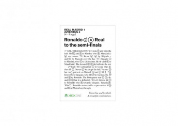 Xbox: Champions League Match Report, 2 Print Ad by McCann London