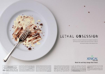 Xenical Weight Loss Drug: Cream Plate Print Ad by Paling Walters London