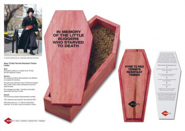 T2 Red Termite-resistant Timber: COFFIN Direct marketing by Clemenger Proximity