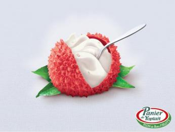 Panier De Yoplait Yoghurt: Lychee Print Ad by Comkoi, Mayotte