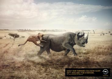 Opel: Rhino and leopard Print Ad by Scholz & Friends Hamburg