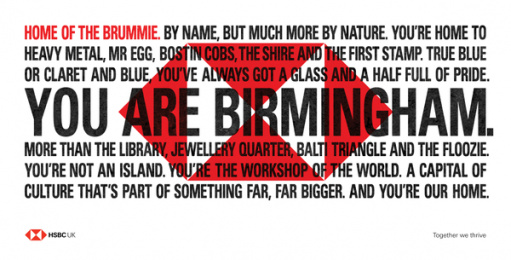 HSBC: We Are Not An Island - You Are Birmingham.  Outdoor Advert by J. Walter Thompson London, PHD London