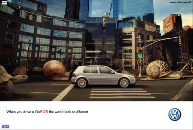 Volkswagen Golf Gti: When you drive a Golf GTI the world looks so different Print Ad by Mackenna&armstrong