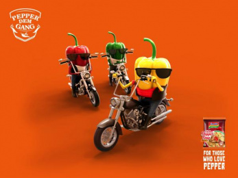 Indomie: Pepper Dem Bikers Print Ad by Noah's Ark Lagos