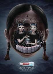 Colgate Sensitive: Stop The Pain - Masked Gothic Girls Print Ad by Red Fuse