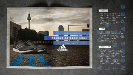 Adidas: Adidas Adizero Sub 2 Print Ad by Heimat Berlin, MR. BOB Films