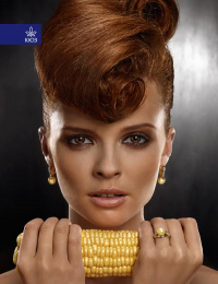Kiev Jewellery Factory: Corn yellow pearls Print Ad by Kinograf Kiev