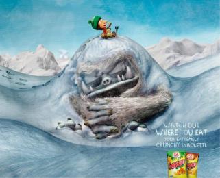 crunchy Snacketti: Yeti hill Print Ad by Advico Y&R Zurich