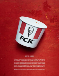 Kentucky Fried Chicken (KFC): FCK Apology Print Ad by Mother London