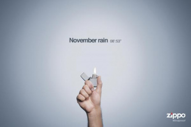 Zippo Windproof: NOVEMBER RAIN Print Ad by Tribu DDB San Jose